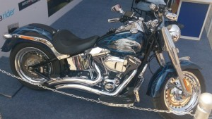 Harley-Davidson Fat Boy Custom complete with even more chrome, an immaculate paint job and Vance & Hines exhaust pipes