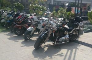 An assortment for the ages: Harley-Davidson Fat Boy Custom, Honda CB1000R and a customised Kawasaki Ninja ZX-14