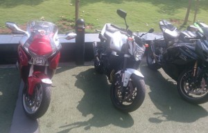 Honda VFR 1200, Yamaha FZ1 and a Suzuki Gixxer gleaming in the afternoon sun