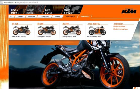 KTM RC India web