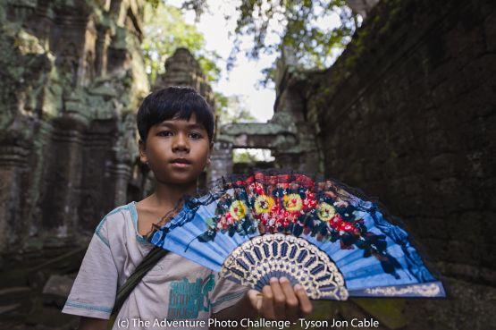 web Boy Selling Fans, Siem Reap, Cambodia