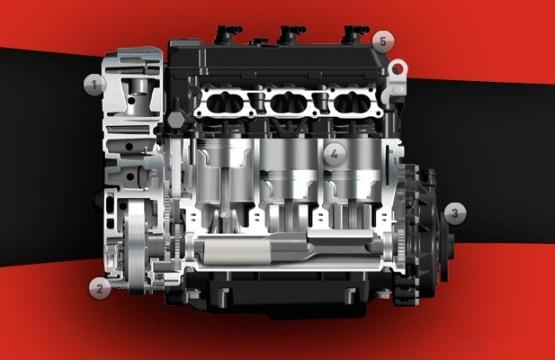 Benelli B3R Sport three cylinder Engine web