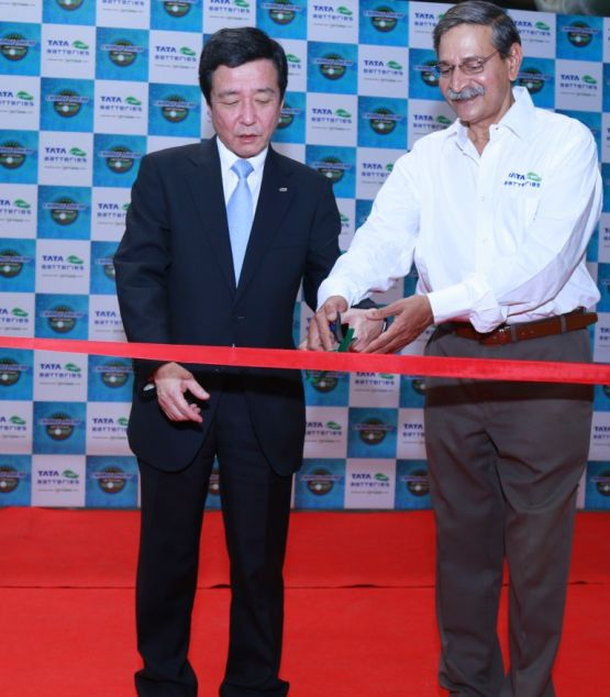 PIC 1 -L-R Mr. Toru Bomoto-san, Director of GS Yuasa at the inauguration of the manufacturing facility for VRLA batteries Ranjangaon near Pune web