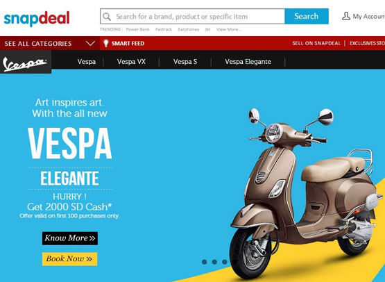 Piaggio on Snapdeal_web