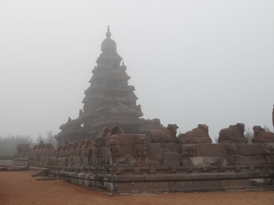 DSC04151  A misty morning at Mahabalipuram shore temple WEB