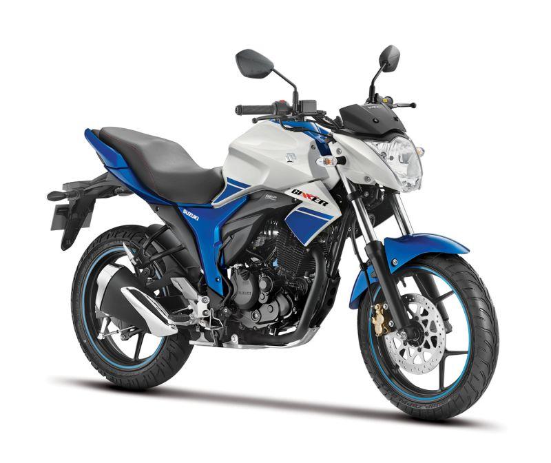 2015 Suzuki Gixxer Dual Tone White and Blue web 1