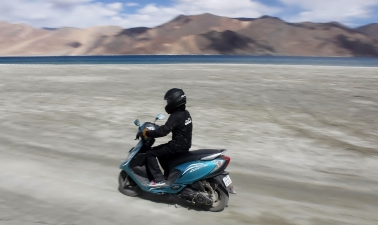 Anam Hashim and TVS Scooty Zest 110 in Ladakh (8)