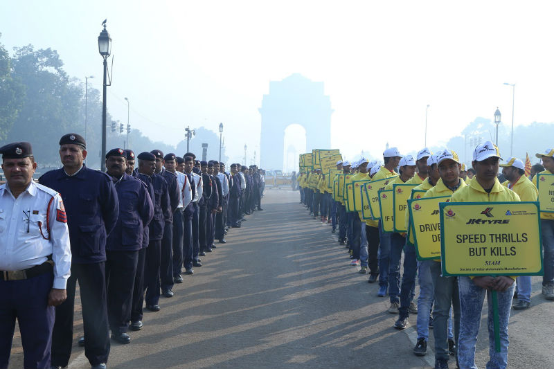 JK Tyre Delhi Traffic Police and SIAM kick off the National Road Safety Week at Delhi's iconic India web
