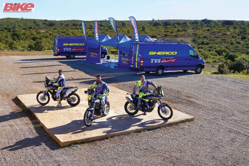 Sherco TVS Racing Dakar team practice at Fontcouse in France
