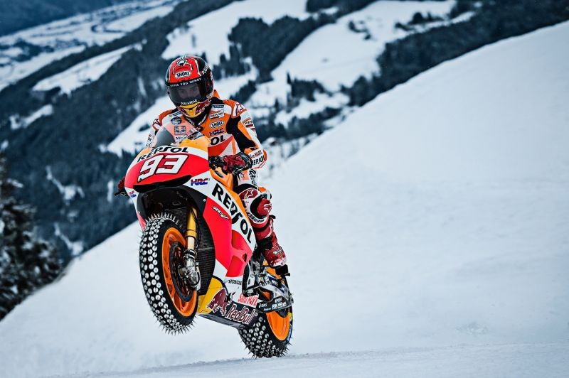 Marc Marquez performing during Moto GP showrun in Kitzbuehel, Austria on January 12th, 2017.