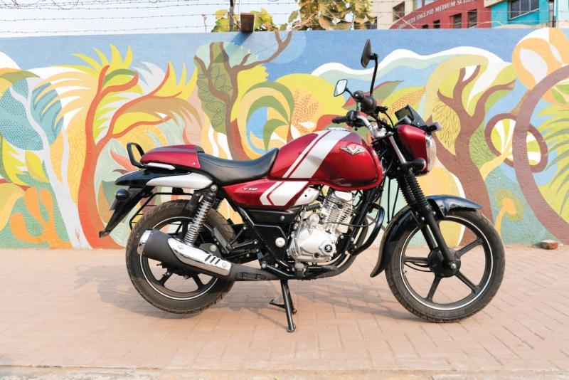 2017 Bike India new Bajaj V12 Review side shot colours