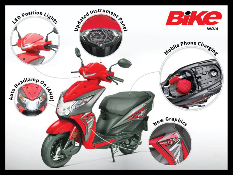 new, honda, dio, launched, red, specs, features