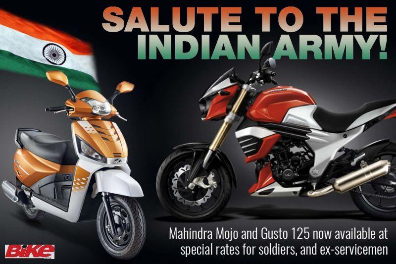 Mahindra Mojo Gusto 125 discount for army