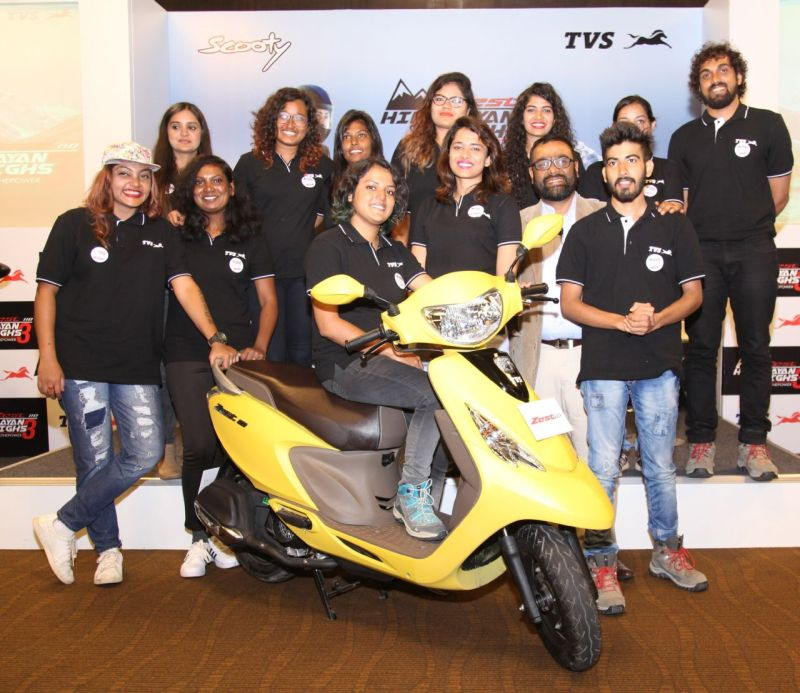 Riders from TVS Himalayan Highs Season 3 celebrating the feeling of power with Mr. Aniruddha Haldar, Vice President (Marketing) Commuter Motorcycles, Scooters and Corporate Brand, TVS Motor Company M1