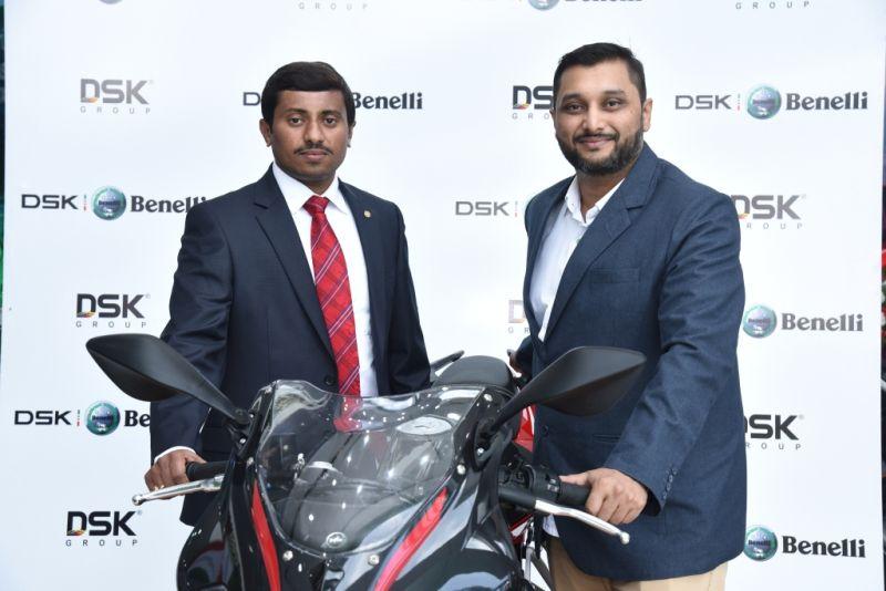 DSK Benelli - Whitefield. Lto R Mr. Praveen Kumar, Dealer Principle, Mr. Shirish Kulkarni, Chairman, DSK Motowheels