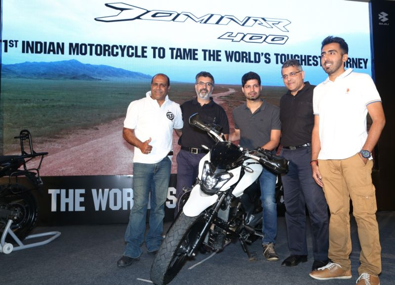 Eric Vas and Sumeet Narang from Bajaj Auto on the occasion of Dominar creating history by conquering the world toughest journey-M1