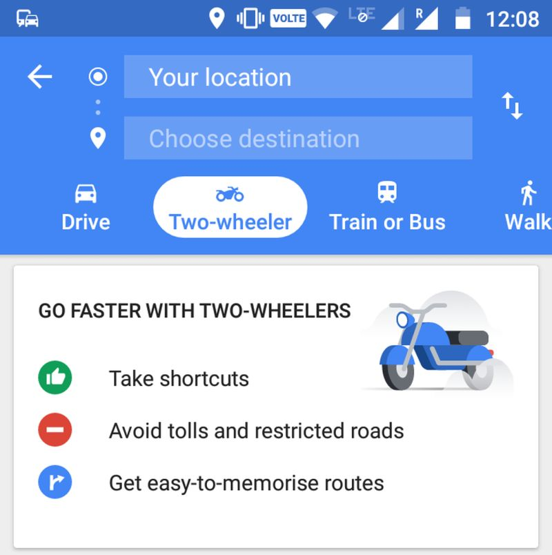 new, bike, india, google, maps, app, update, two-wheeler, mode, option, feature, route, news, latest