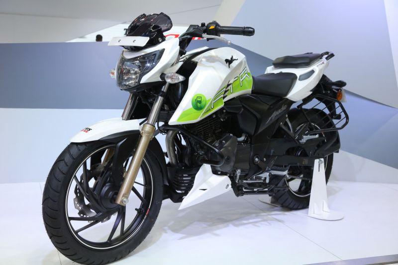 new, bike, india, tvs, auto, expo, concepts, unveil, creon, zeppelin, apache rtr 200 Fi ethanol, green, environment friendly, news, latest