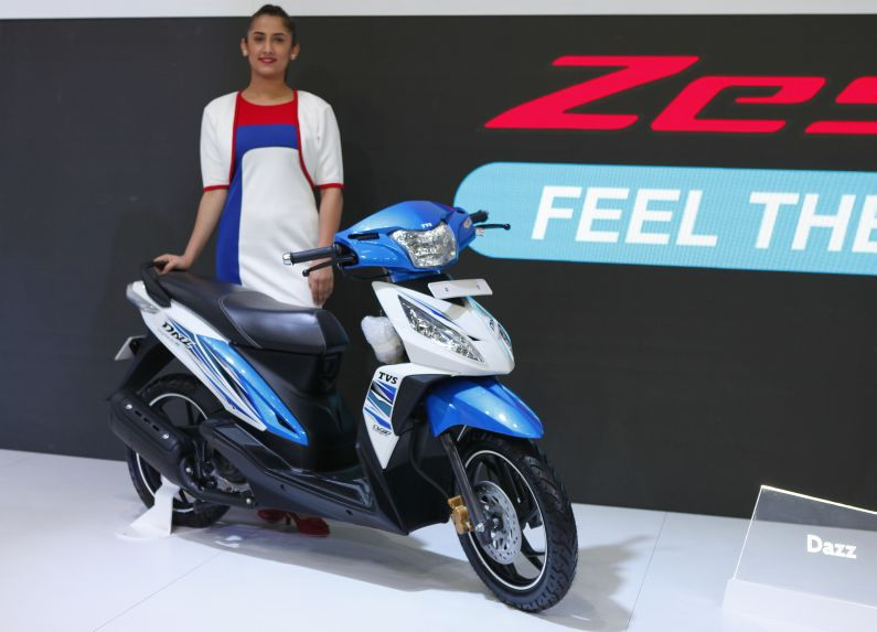 TVS Dazz step through scooter at 2018 auto expo
