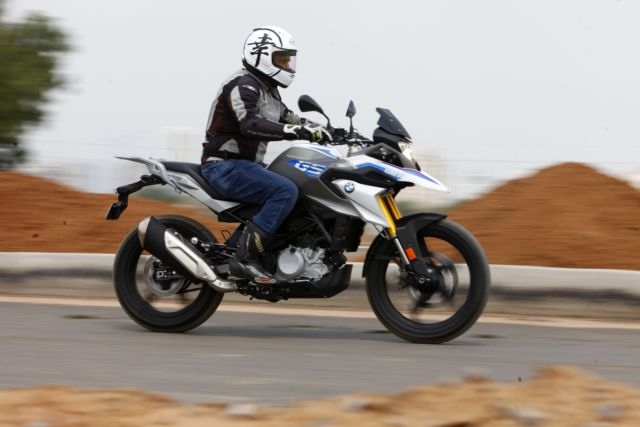 Riding the BMW G 310 GS on tarmac during the Bike India review