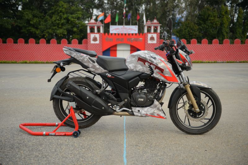 The special customised TVS Apache RTR 200 4V for the Military Police ride