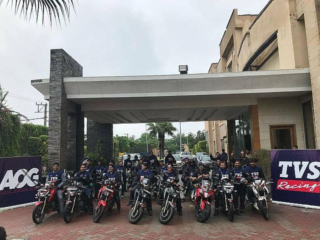 TVS Apache owners club flag off their ride to Leh
