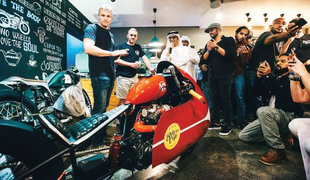 The streamliner Hero Xtreme 150 with turbocharger wows the audiance at the Biker Build-off in Dubai
