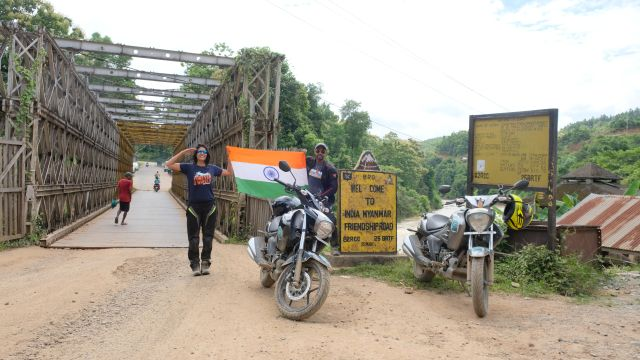 Two riders travel through three countries astride Suzuki Intruder motorcycles
