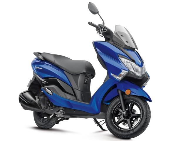 Suzuki Burman Street BS6 125 scooter in Pearl Medium Blue