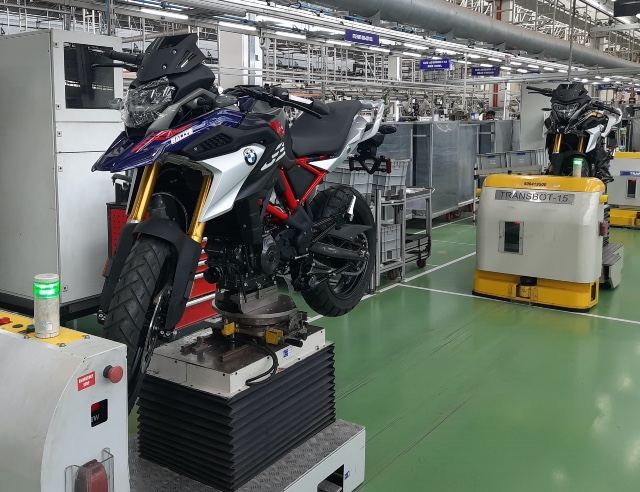 The new BMW 310 GS as it rolls out in Hosur from the assembly line