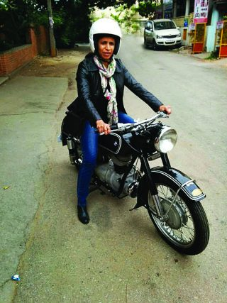 Sangeetha Jairam with her father's BMW motorcycle